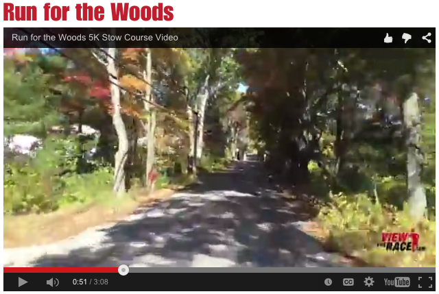 screenshot of viewtherace.com video screen for the Run for the Woods race course